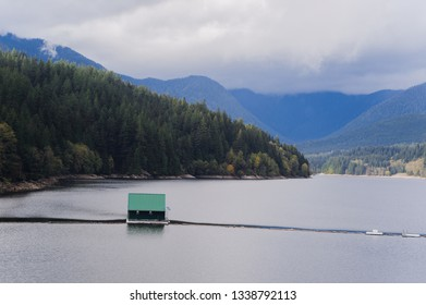 Water reservoir on Capilano Lake, Vancouver, BC