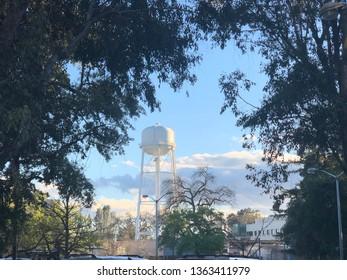 Water reservoir and trees in University of California, Davis(UC Davis), CA, USA