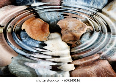 Water ripples over the stone pebbles - digitally altered