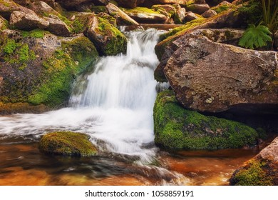 Water rolling on the rocks