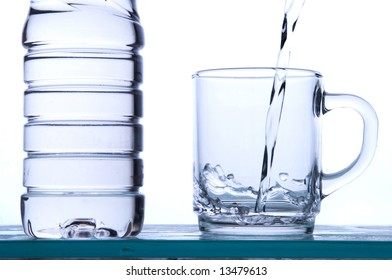 water running in a glass