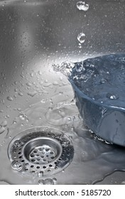 Water is running over the bowl inside a sink