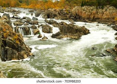 Water rushes forward at the Great Falls of the Potomac, a natural site just north of Washington, DC