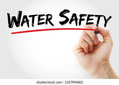 Water Safety text with marker, concept background