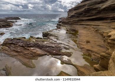 Water shaped rock formations near Lanai Lookout, Oahu, Hawaii