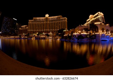 Water show in night time,  Fountain Night Show at Bellagio Hotel. The fountain incorporates more than 1200 nozzles and 4500 lights in Las Vegas, USA, 2016.