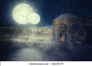 Water of silent lake came very close to stone fortress wall in double moonlit night. Little more and water will fill fire inside of semi-round stone tower.