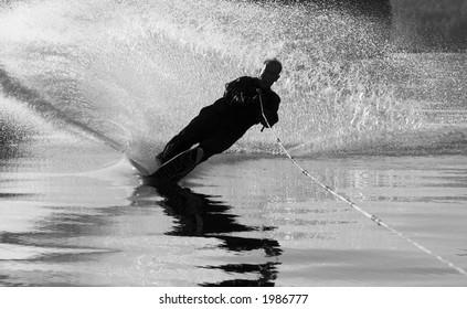 Water ski silhouette