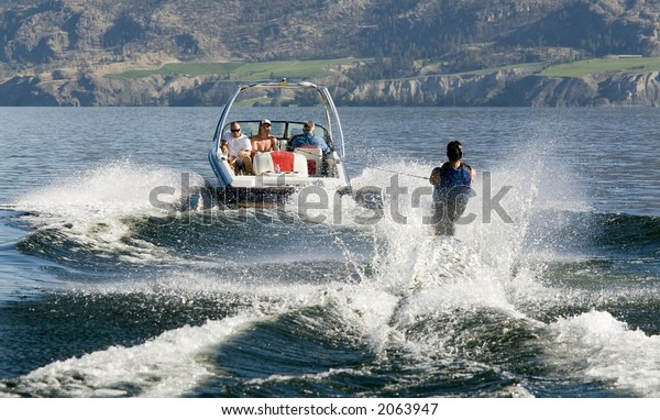 water skier seen from behind