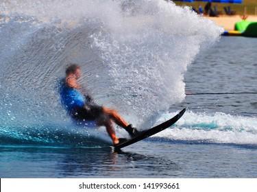 Water skier spray