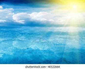 Water  sky  sun