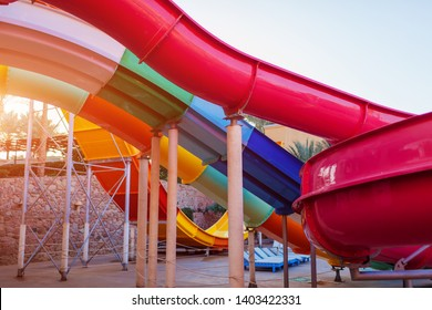Water slide in hotel aquapark. Resort entertainment. Summer vacation