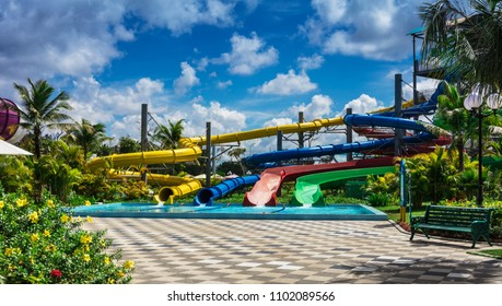 water slides in tropical aqua park