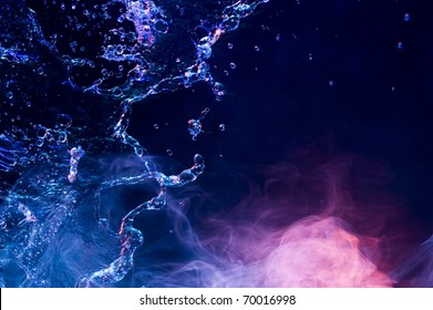 Water and smoke. Creative backround with drops