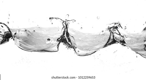 water smooth with waves on the isolated on white background