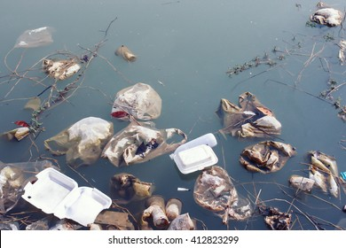 Water source  that is polluted with various garbage