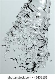 Water splash abstract background 3d illustration