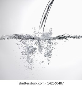 Water splash banner on white background