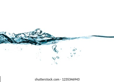water splash and bubbles isolated on white background.