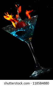 Water splash glass with fire