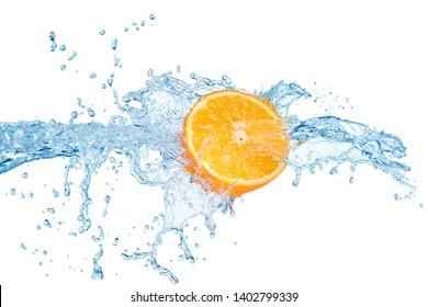 water splash with half of orange fruit isolated on white background