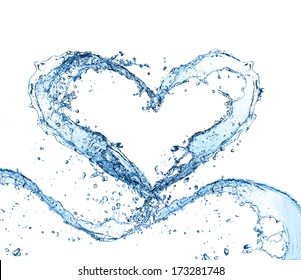 Water splash heart isolated on white background