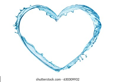 Water splash in the heart shape