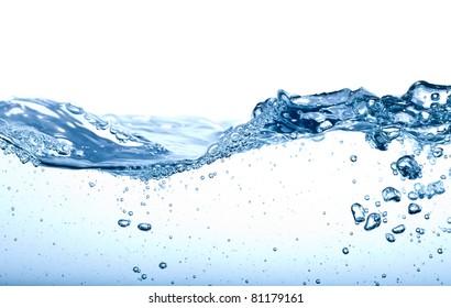 Water splash isolated on white. Close up of splash of water forming flower shape, isolated on white background.