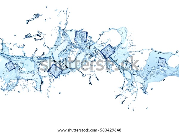 Water splash isolated on white background. Abstract object