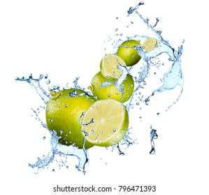 Water splash with lime cutrus. Fresh fruits in water.