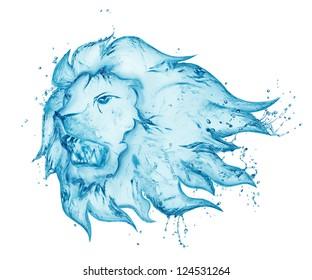 water splash lion isolated on white background