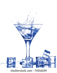 Water splash in martini glass and ice cubes