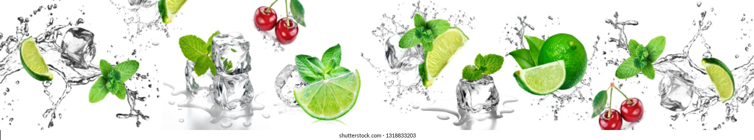 Water Splash With Mint Leaves And Slices Of Lime and cherry