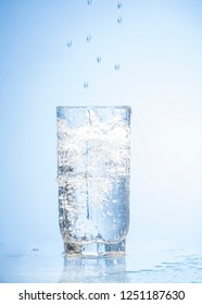 water splash on a glass isolated on white or blue background.