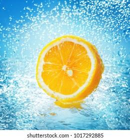 Water splash on lemon