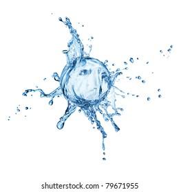 water splash on the sphere