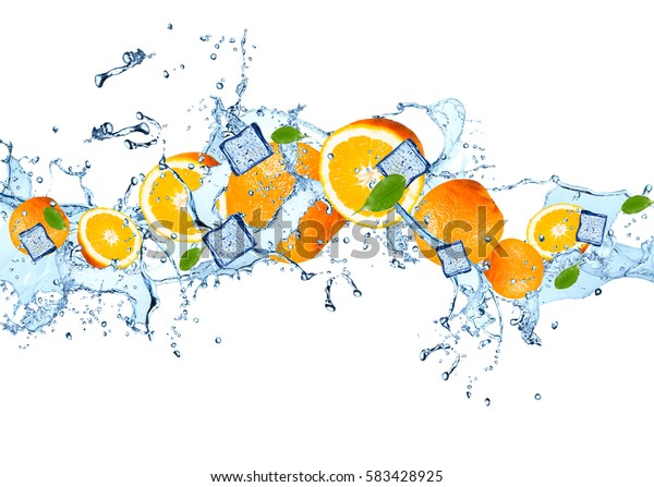 Water splash with orange isolated on white background. Abstract object with fresh fruits.