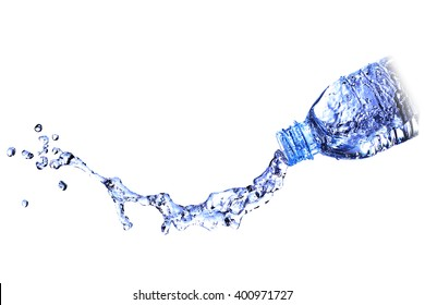 water splash water out of a bottle, be paid out of the water bottle.