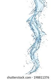 Water splashes over white background