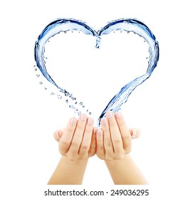 Water splashing shaped as heart frame in hands isolated on white