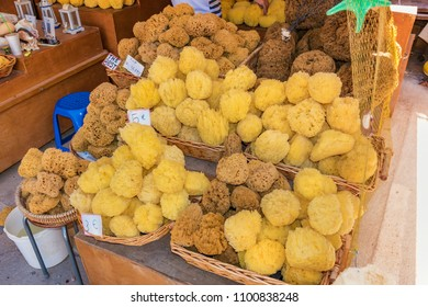 Water sponge exposed in street shop in old town of City of Rhodes (Rhodes, Greece)