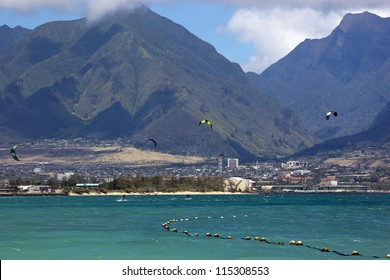 Water Sports in Hawaii with the West Maui Mountains in the distance