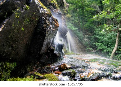 Water spray from the bottom of Apple Orchard Falls near Peaks of Otter, Virginia.