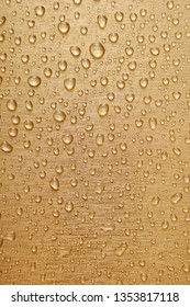 water spray or condensation on the golden colored stainless steel