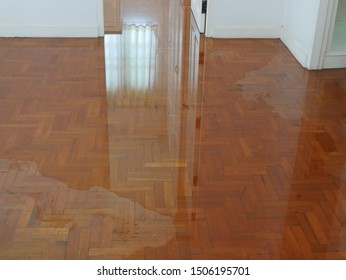 Water spreading / flooding on the parquet floor of a house - damage caused by water leakage
