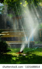 Water sprinkler in work in a contour light
