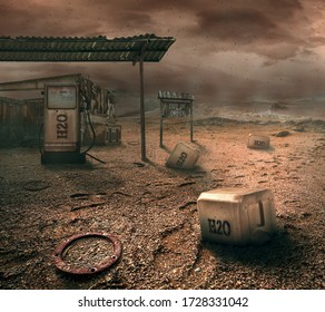 Water station on wasteland, vision of world in 2050