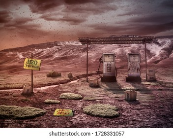 Water station on wasteland, vision of world in 2050 year