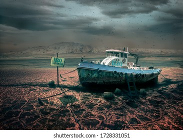 Water station ship on a dry lake, world in 2050