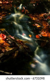 water steeam in fall with some leaves in red